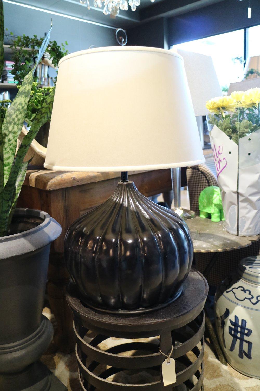 Wooden Lamp, Glass Black