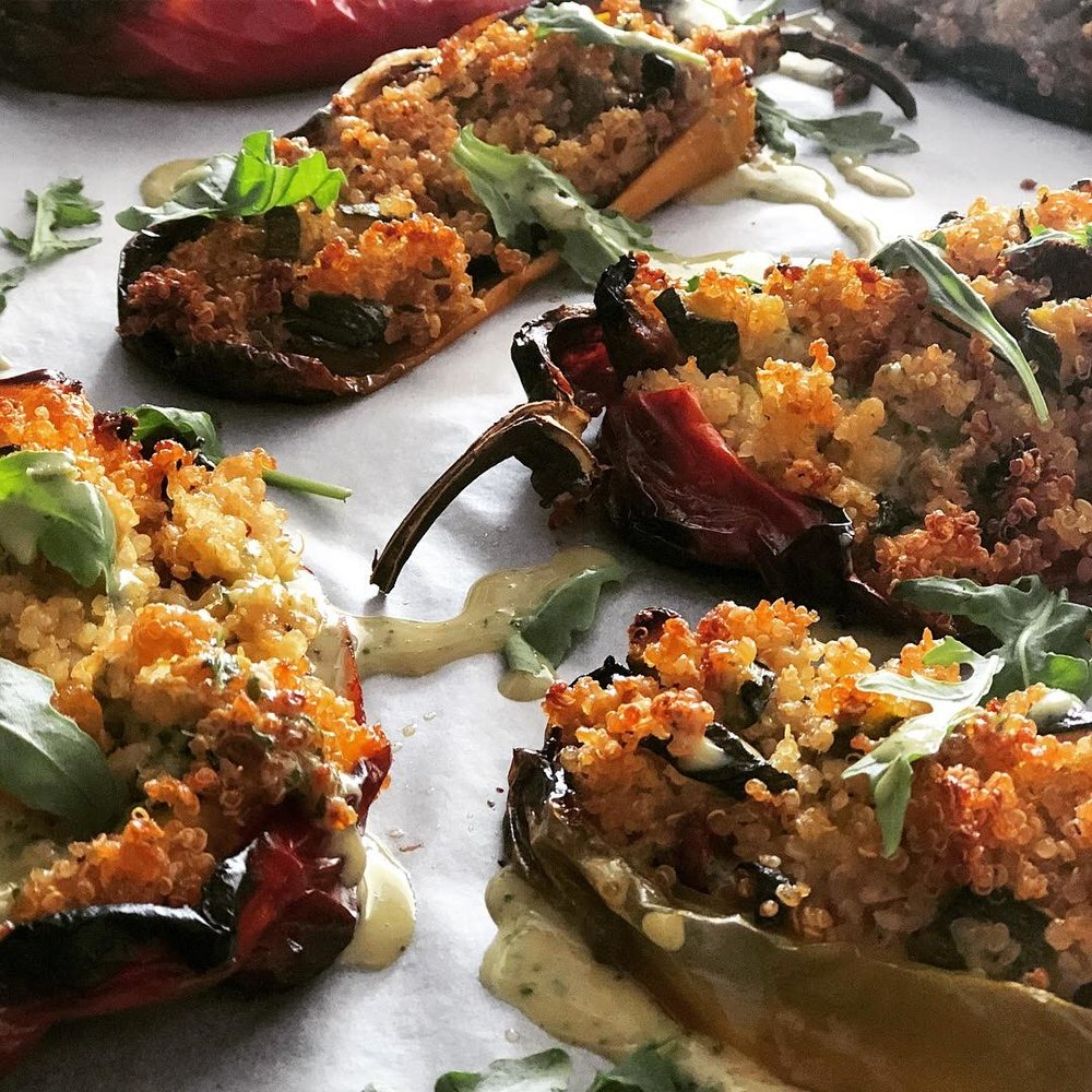 Quinoa and Vegetable Stuffed Bell Peppers - Check out this recipe and more Vegan inspiration!