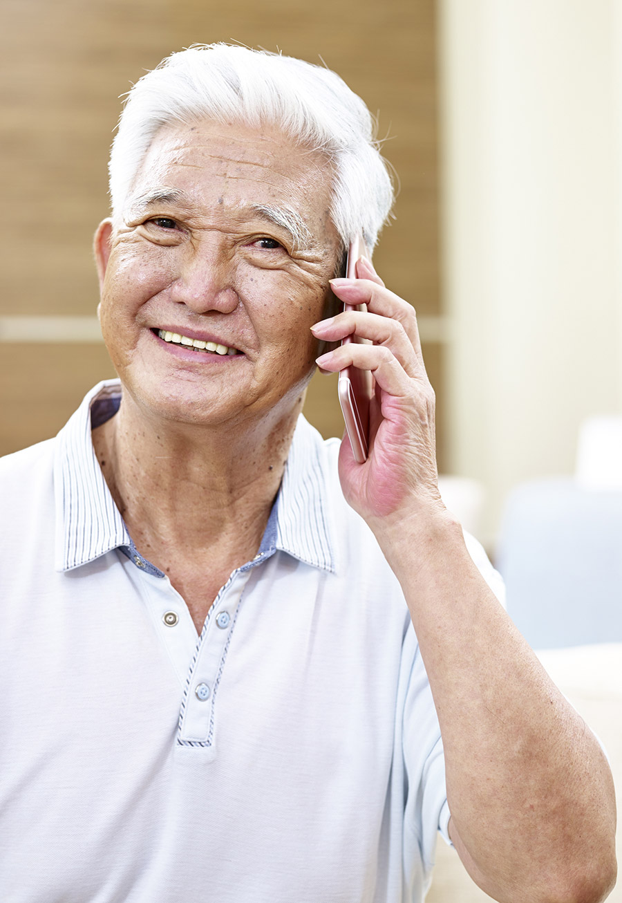Senior male on the phone