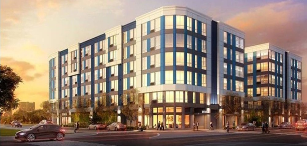Rendering of the east half of the two block project by a corporate REIT across Burnside at 14th (under construction)