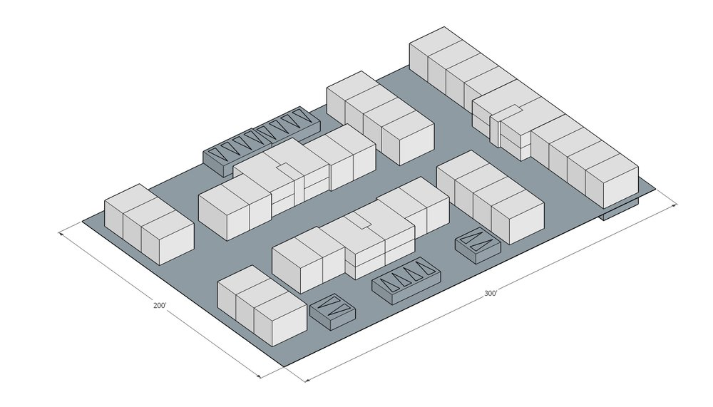 Building Data:  Neighborhood: Goose Hollow Year Built: 1942 Typology: Hybrid Court – townhouse and stacked flat Units: 42 (12 flat, 30 TH) Stories: 2 + Basement Site Area: 60,000sf 1.38ac Building Area: 40,648 (+20,324 private basement area) FAR: 0.67:1 Density: 30.5 du/net acre Zoning: RH (High Density Residential) Off Street Parking? 30 Private Garages Is it Legal? Yes