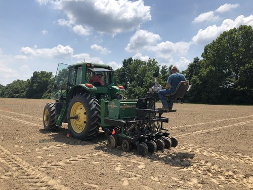 Planting day for grain trials at the Agricenter in Memphis, TN.  Photo by Paige Della-Franca