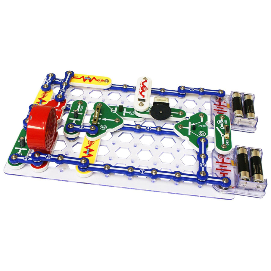 Snap Circuits - Explore the world of electronics and circuitry with Snap Circuits! Complete with 30 separate components - think snap wires, slide switches, alarm circuit, music integrated circuits and speakers - the kits can be used to create 101 different electronic projects. Participants will learn to build their very own AM radios, burglar alarms, doorbells and much more.