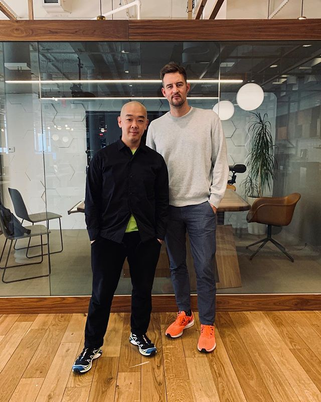 Wonderful afternoon catching up (and learning) from @wework co-founder @miguelmckelvey 🙇🏻♂️ #Size16Tho #HeNeedsHelpWithKicks