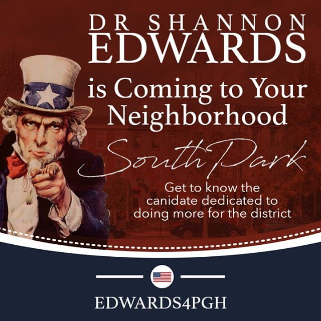 What a chance to learn more about where #ShannonEdwards sits on the issues important to you and your family? Now is your change. This afternoon she will be in #SouthPark  The Change We Need. The Voice You Deserve. #Edwards4PGH