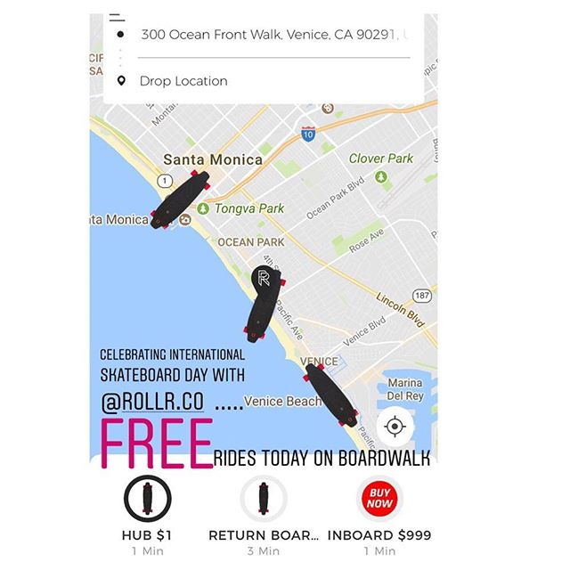 FREE rides TODAY, June 21, on our @inboardskate M1 ELECTRIC skateboards. Come see us at one of our three hubs. Download the app on iOS and Android to locate our hubs. #venice #santamonica #ca #cali #california #electric #skateboards #skateboard #skating #skate #nationalgoskateday #sunshine #beach #sun