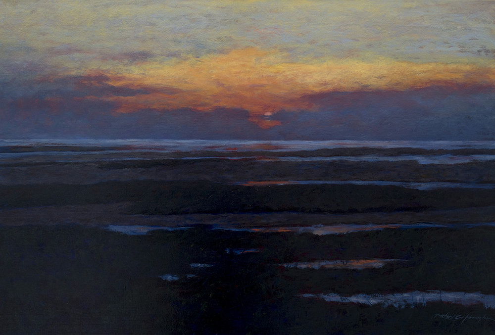 Flats at Dusk, 30 x 44 inches, oil on canvas. Available through the artist.