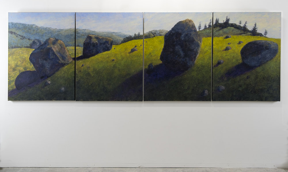 Lamar Valley Erratics, Yellowstone National Park, 48 x 144 inches, oil on canvas. Available through the artist.