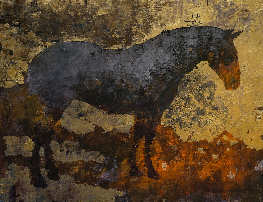Horse, 18 x 23 in, oil and gold leaf on panel.