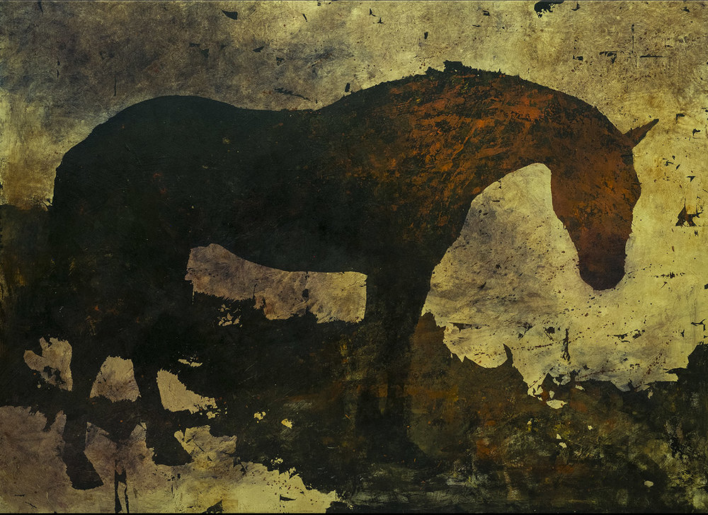 Appaloosa, 48x 66, acrylic, oil and gold leaf on panel. Available through artist.