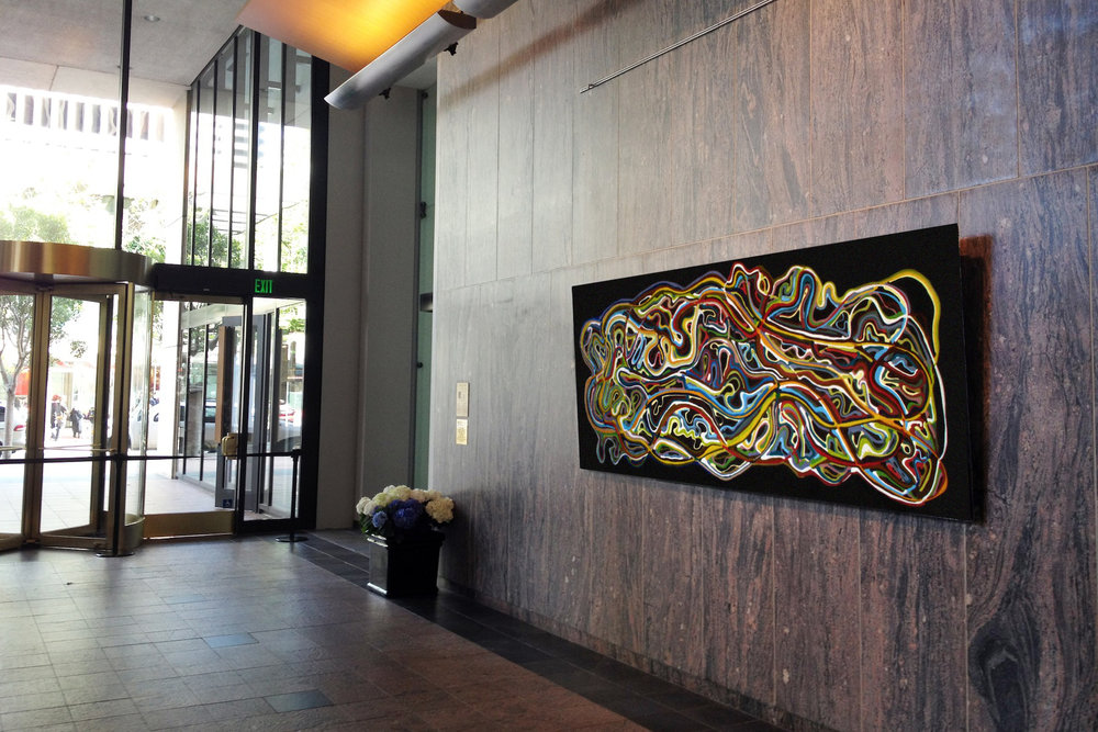 Artwork by Klari Reis.  Systemic Circulation 48inches by 120inches.  Downtown San Francisco Exhibition