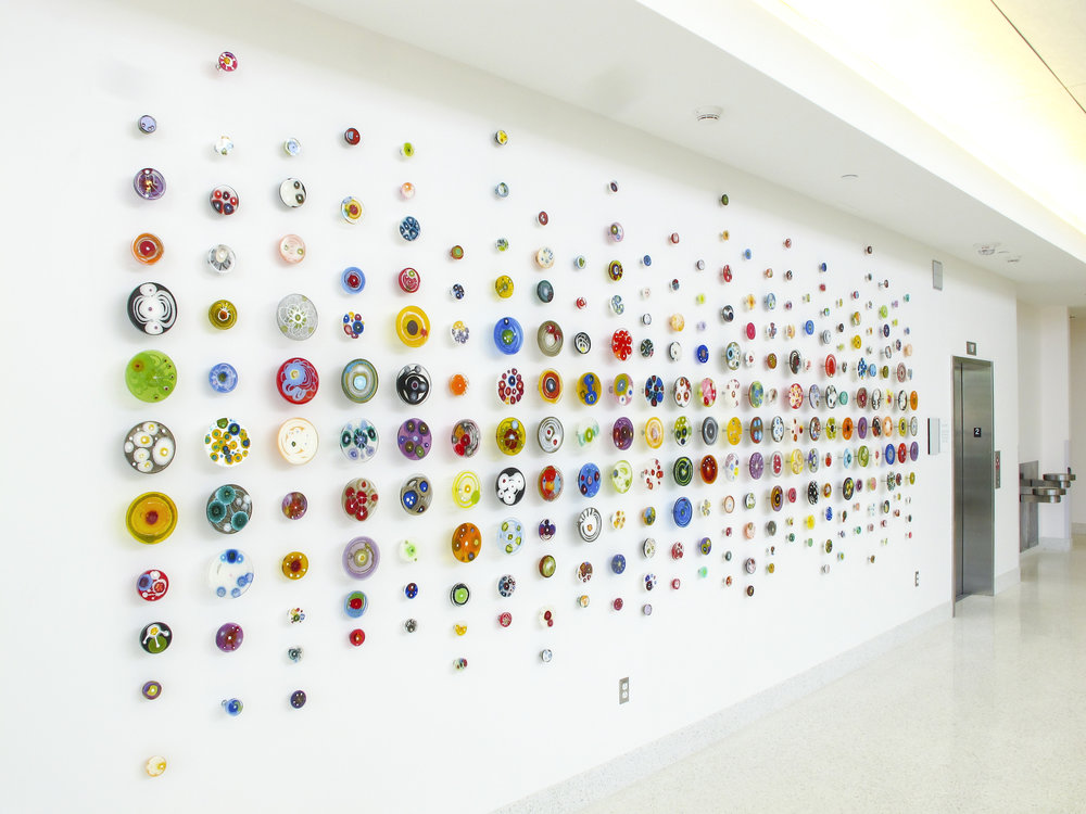 Klari Reis petri dish installation.  Atelier Insite Clemson University three floor multicolor petri dish installation.