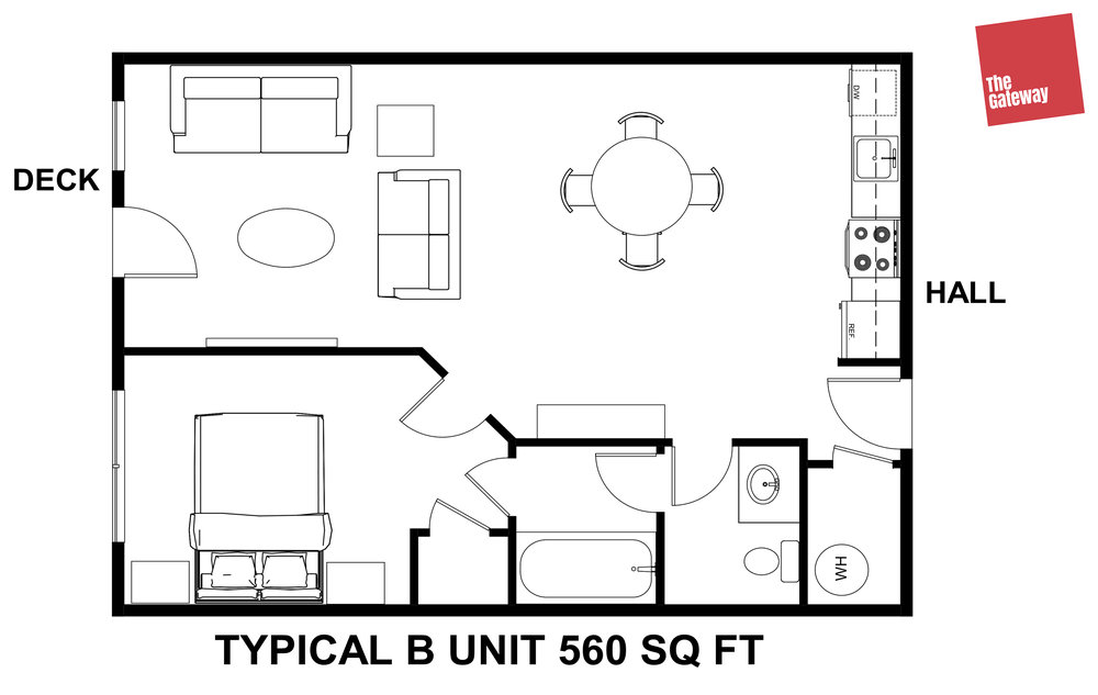 Typical 1 Bedroom Floor Plan - 2nd Floor has balcony.  Some units have In-Suite Laundry