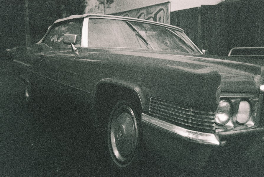 Cadillac, car, kodak, BW, 35mm
