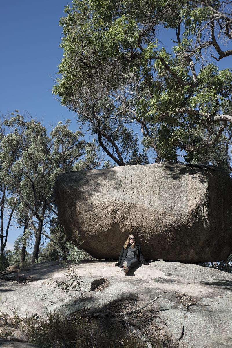 Kelly against a Granite Boulder