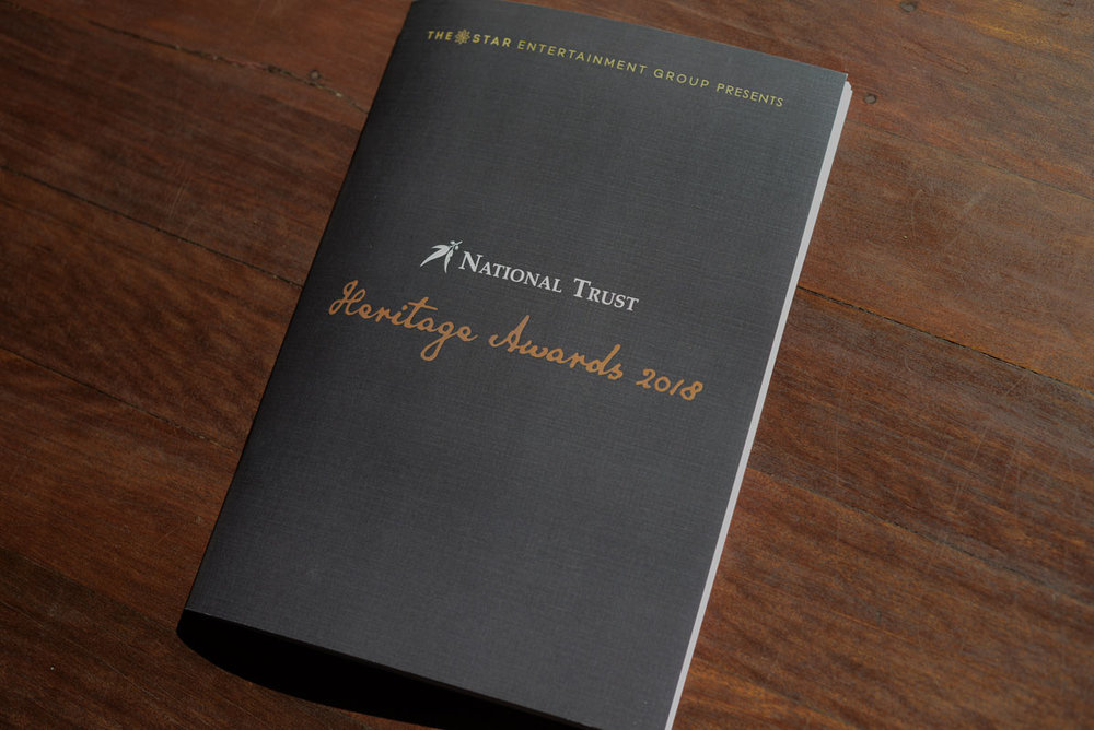 Front Cover page for the National Trust of Australia (Queensland) Heritage Awards 2018 Guide.
