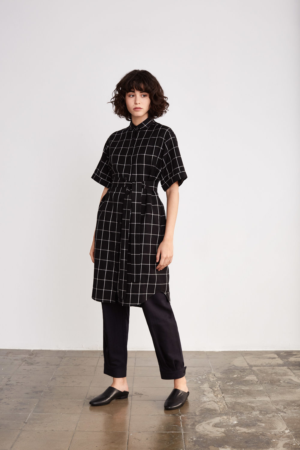 <b>7</b><br>Gladis Linen/Tencel Shirt Dress<br>Tina Herringbone Pants