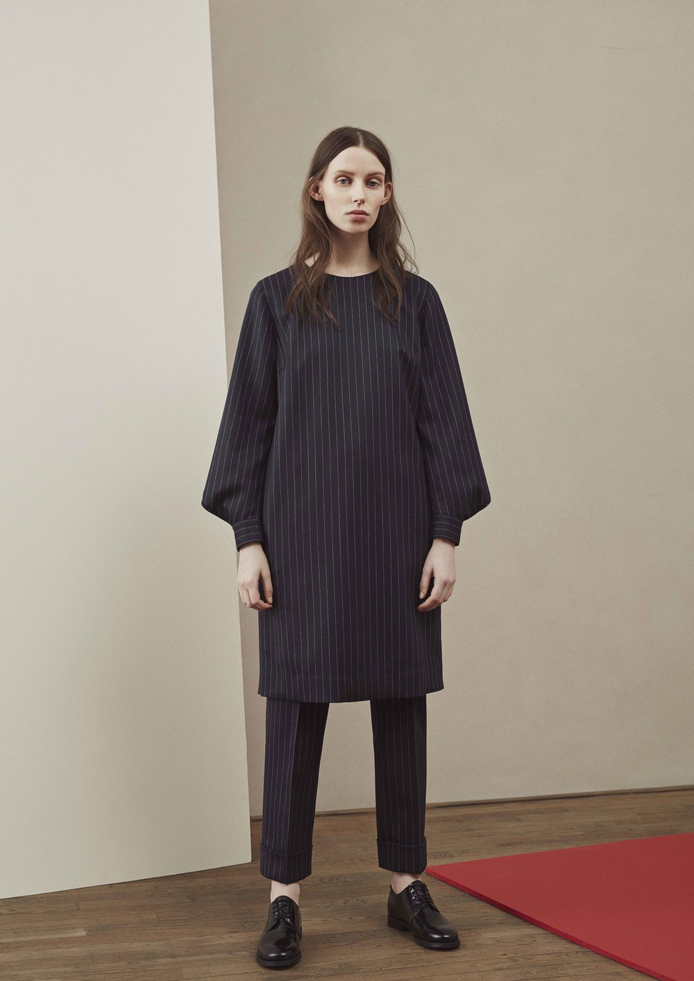 <b>3</b><br>Asta Pinstriped Wool Dress<br>Katarina Pinstriped Wool Pants