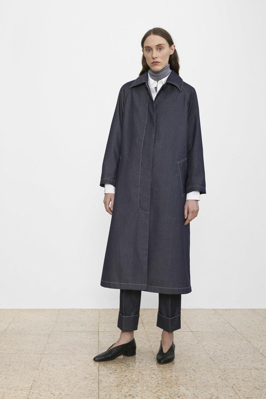 <b>1</b><br>Willa Wool Denim Coat<br>Skyler Wool Denim Pants<br>Amina Poplin Shirt<br>Tatum Wool Turtleneck