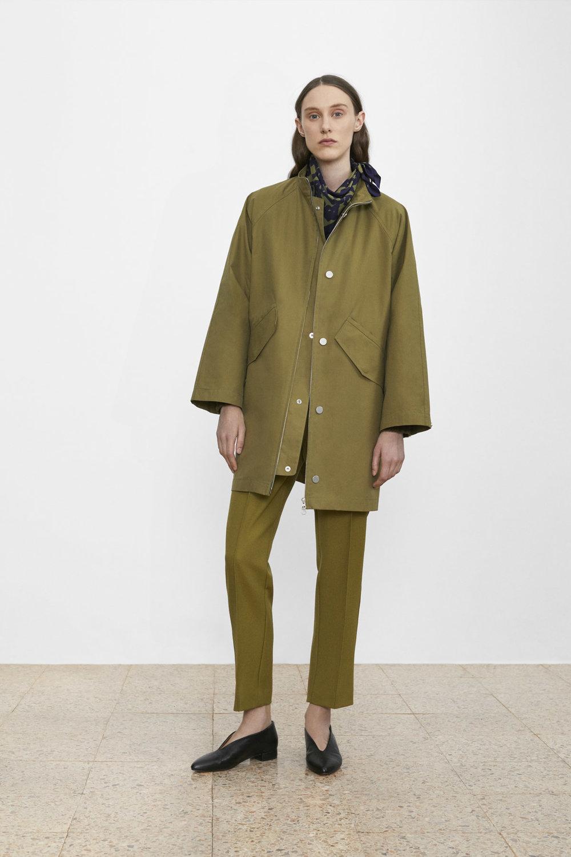 <b>3</b><br>Daisy Waxed Cotton Jacket<br>Ann-Sofie Wool Pants<br>Printed Silk Scarf