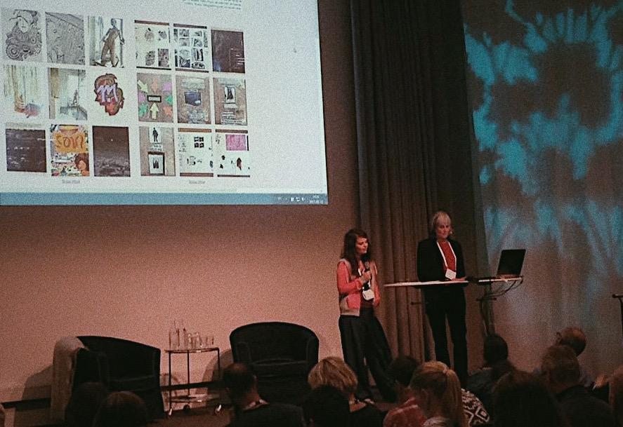 Linnéa och Bitte berättar om Norma under konferensen Suicidprevention 2017 på Svenska Mässan.