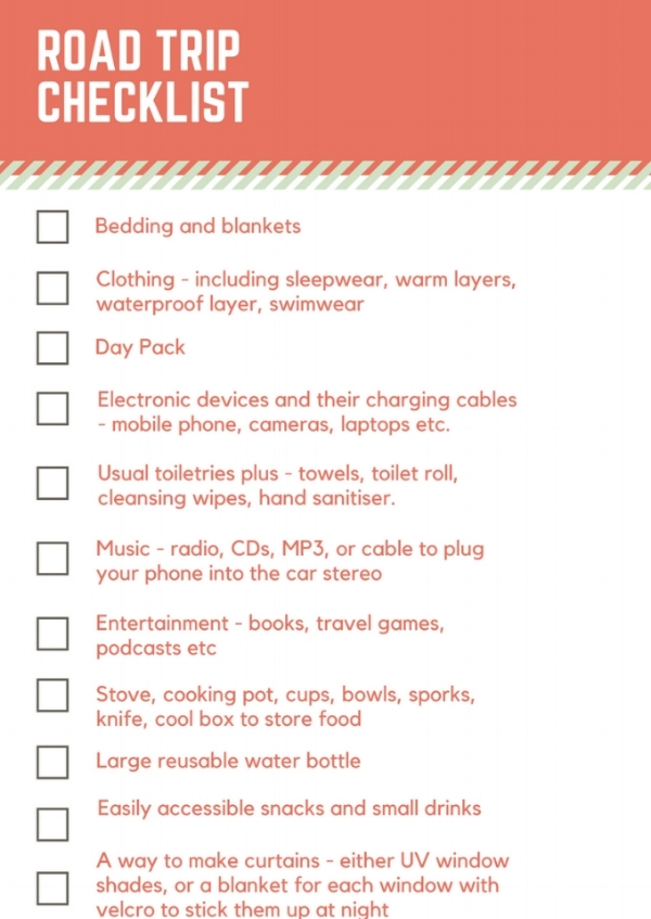 Packing for a road trip - Checklist List.