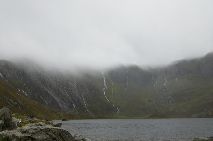 The mist rolling in over Llyn Idwal