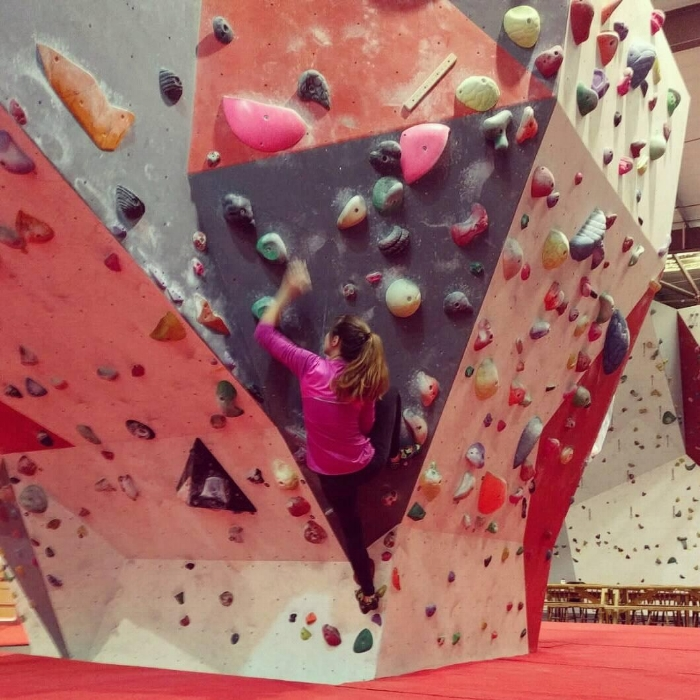 Bouldering at the Indy Climbing Wall