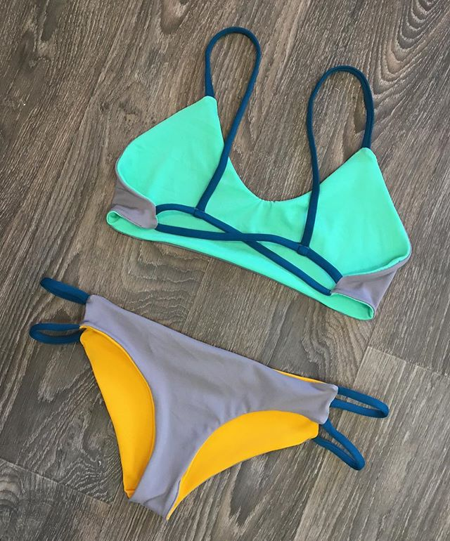 Color combo on POINT 🙌🏽💕 TANGO Top & WOODFORD Bottoms XtraCoverage in MINT/STEEL/MUSTARD/MajesticBlue Straps ::: WHISKINIBIKINIS.com to custom design bikinis, activewear & more 🌸::: #madewithlove #whiskinibikinis #colorscheme