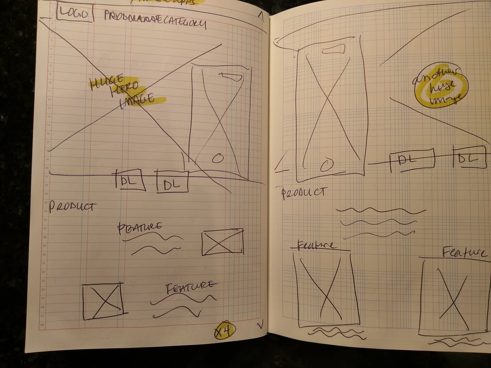 Sample wireframe sketches for potential designs