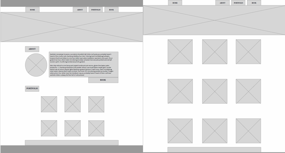2/3 of the initial wireframes