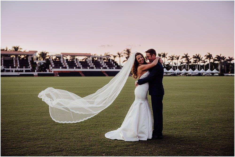 International Polo Club Bride Groom veil blowing