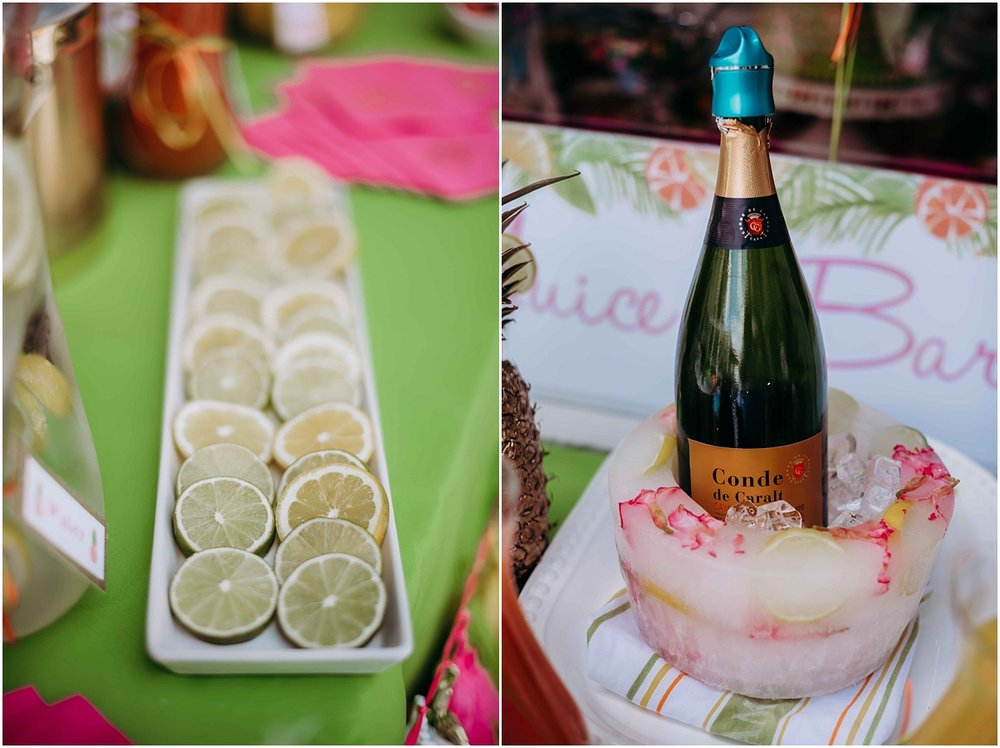 bridal shower limes and lemons champagne iced