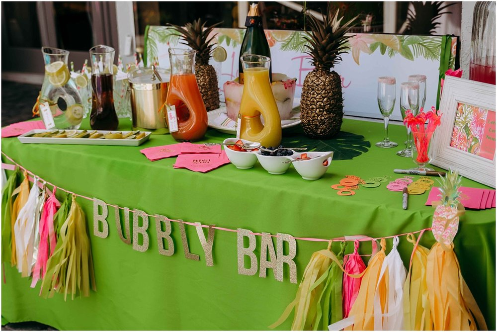 lilly pulitzer bridal shower bubbly bar drinks