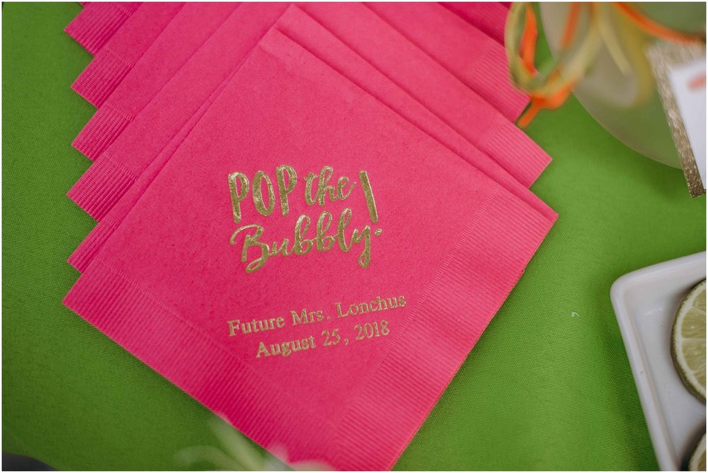 Pop the bubbly pink and gold napkin