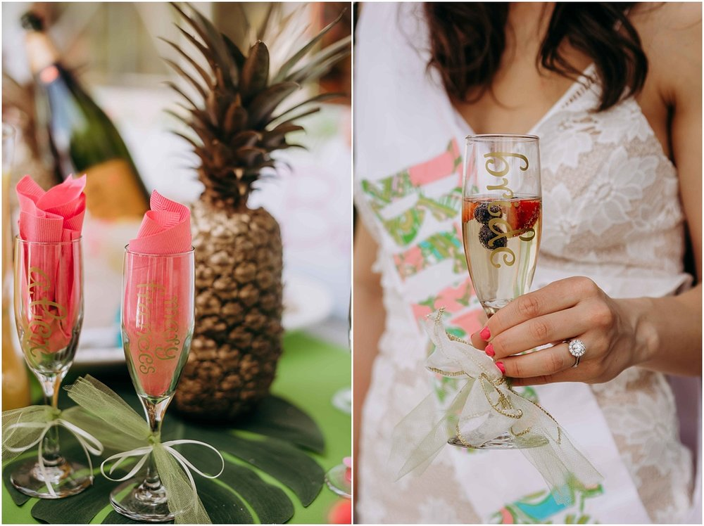 Lilly Pulitzer bride to be sash champagne golden pineapple