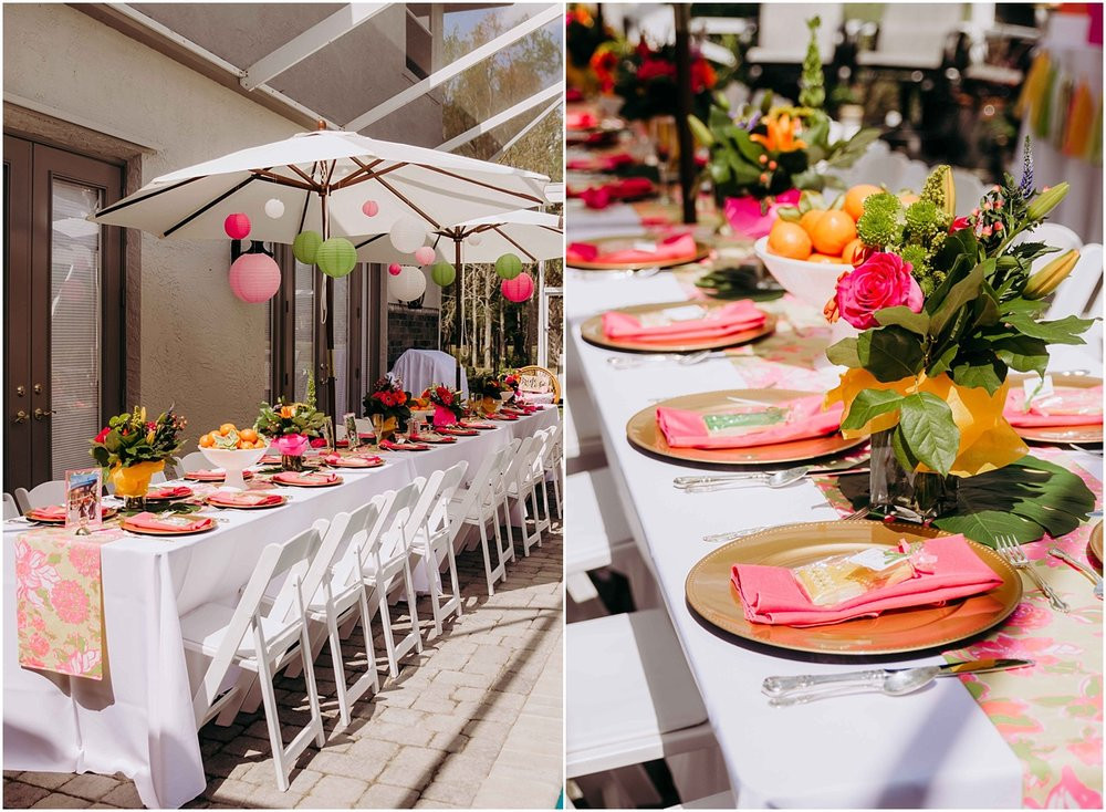Lilly Pulitzer Bridal Shower table setting and decor