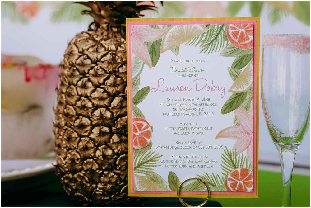 bridal shower invitation and golden pineapple