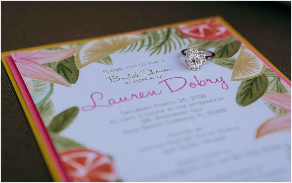 Lilly Pulitzer Bridal Shower Invitation and Engagement Ring