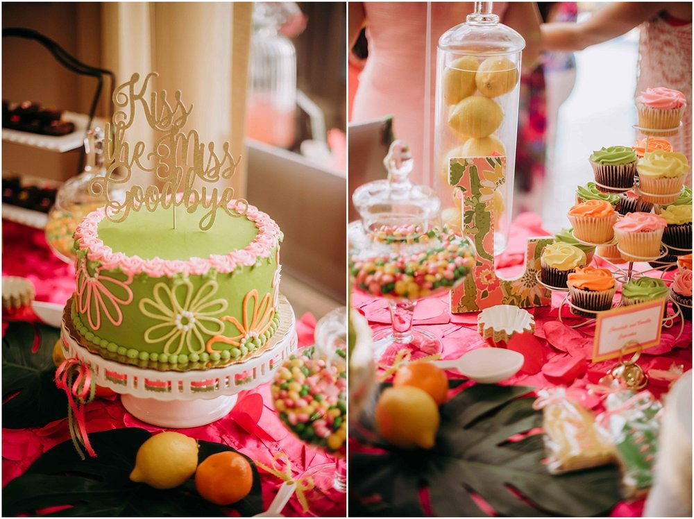 Say Goodbye to miss Bridal shower cake pink and green