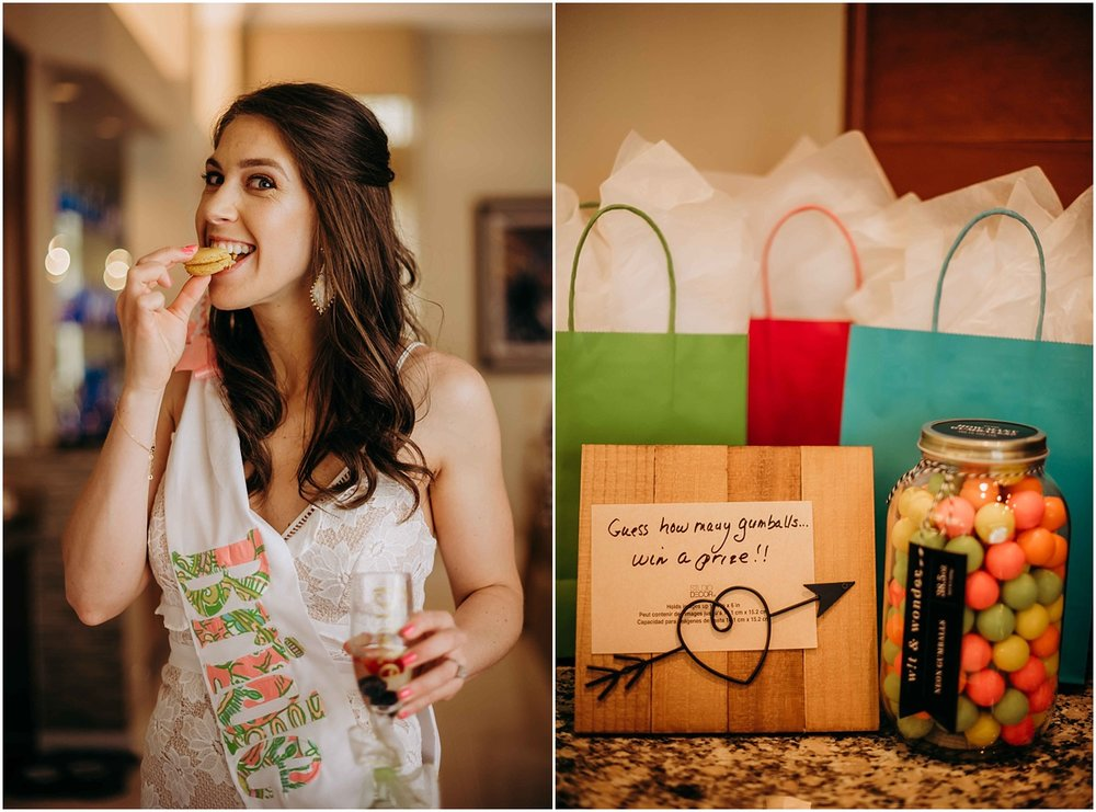 Bride eating dessert and gumball gifts