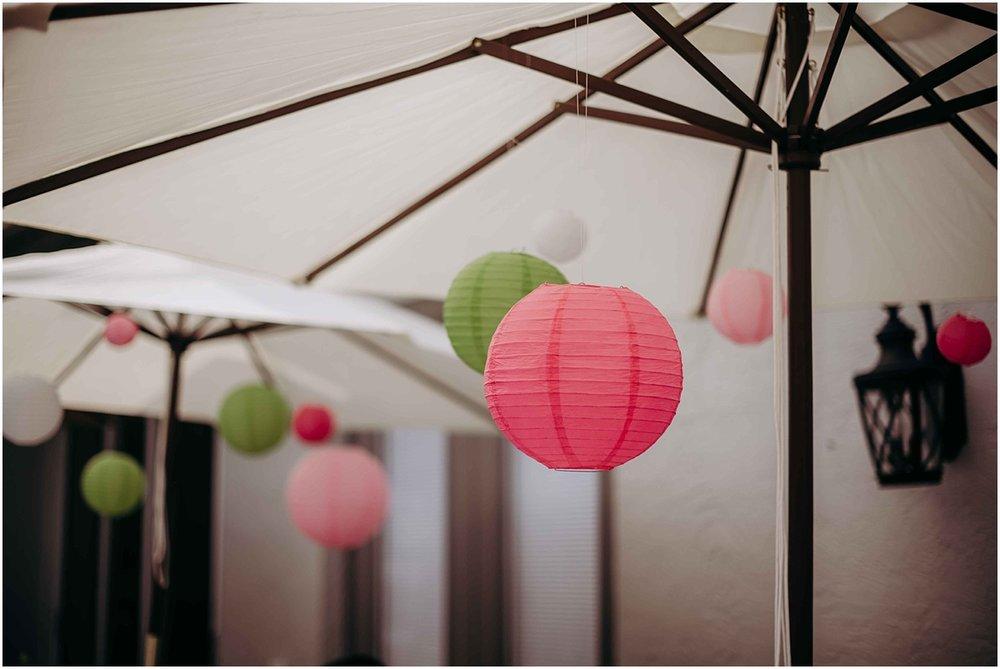 Bridal Shower Umberella pink and green lantern