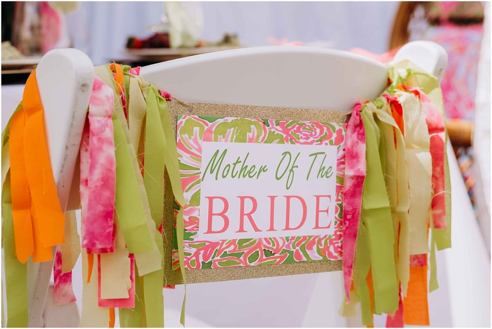 Lilly Pulitzer pink and green mother of the bride chair