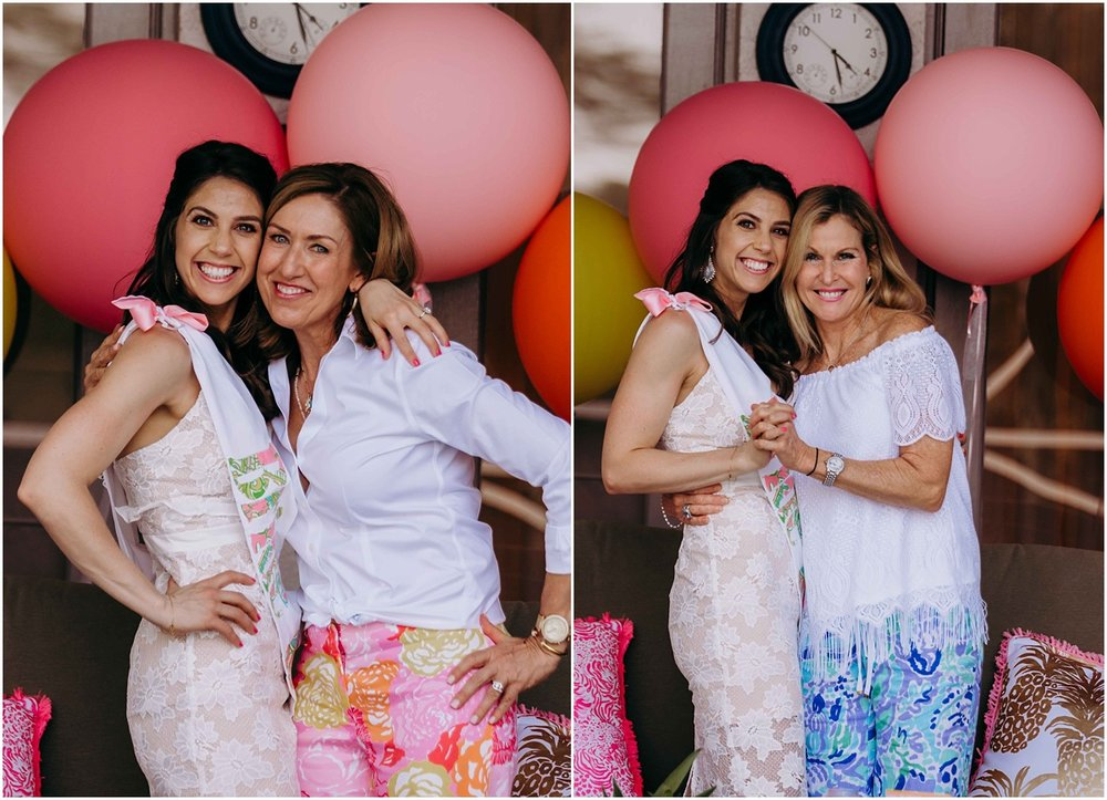 Lilly Pulitzer Bridal Shower bride with guests and balloons