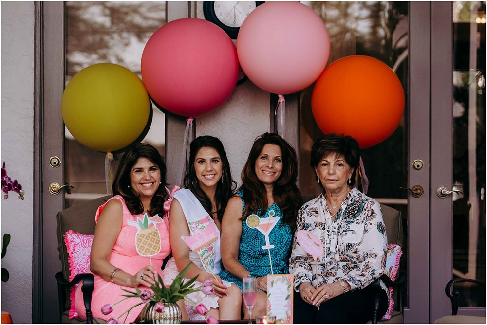 Lilly Pulitzer Bridal Shower Bride sitting with guests