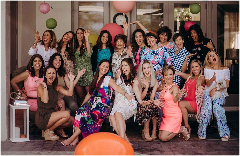 Lilly Pulitzer Bridal Shower guests laughing