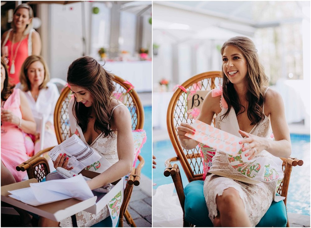 Lilly Pulitzer Bride opening gift