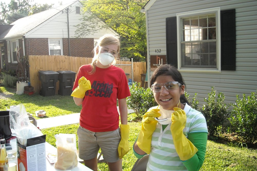2008  | Our first attempt at making soap in the front yard of the Harvest House.