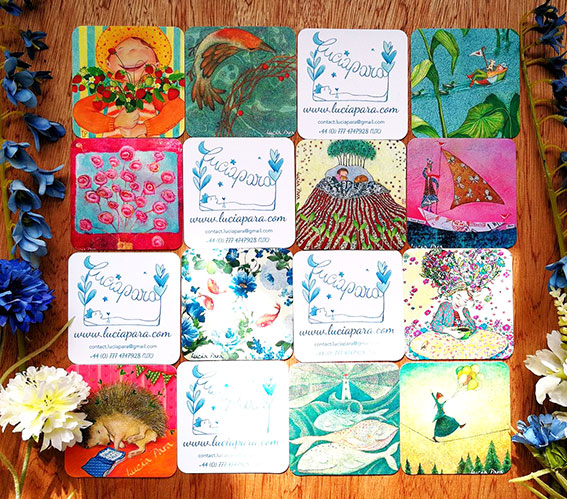 Some of my Print Infinity Buz cards from Moo. They are silky at touch and vibrant colours!