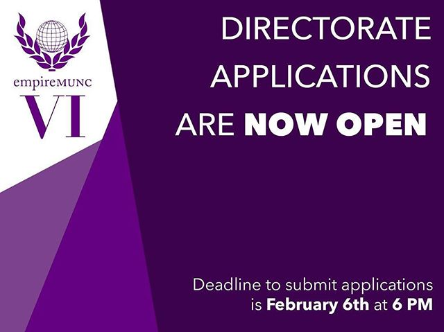 EmpireMUNC begins construction on its #RoadtoVIctory! Directorate Applications are now open!  Begin by reading our Directorate Application Information Package. Here you will find information on the application process as well as the positions that are available. Then fill out an application. Applications will close on Thursday February 6th at 6pm. Finally, sign up for an interview slot.  You can find all links in our bio!  Please don't hesitate to reach out with any questions. Best of luck!